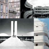 En haut à gauche, détails de bâtiments du Hâvre. En bas à gauche, vue de Brasilia. En haut et en bas à droite, vues de Tel-Aviv. Ces dernières pourraient tout aussi bien représenter Casablanca.